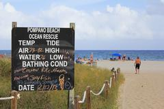 Pompano beach ocean rescue sign Stock Photos