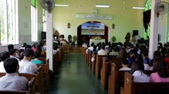Myanmar Central Seventh-day Adventist Church Service Stock Footage