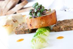 suckling pig steak - stock photo