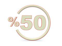 White fifty percent off. discount 50%. 3d illustration. Stock Illustration