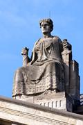 Lady Justice atop Courthouse Stock Photos