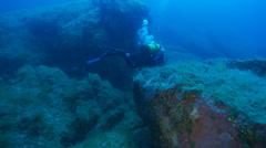 Underwater footage diver mostelle corsica corse mediterranean Stock Footage