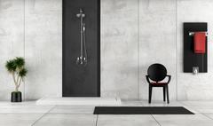 minimalist bathroom with shower - stock illustration