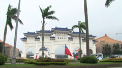 View of Chiang Kai-Shek Memorial Hall entrance in Taipei Taiwan Stock Footage