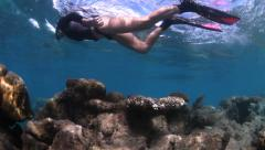 Woman snorkelling over coral Stock Footage