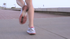 Running woman outdoors exercise - stock footage