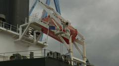 Lifeboat and Panama flag Stock Footage
