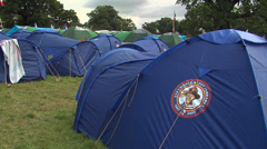 Shelter tent and tent in a Jamboree camp Stock Footage