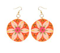 Earrings made of felt in the form of a flower Stock Photos