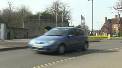 Entrance to warwick castle and castle hill roundabout in warwick to Stock Footage