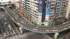 Long shot of the Taipei underground and streets Stock Footage
