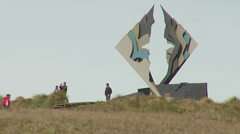 People visiting the cape horn monument Stock Footage