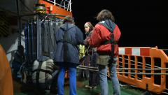 Scientist collecting water in rosette CTD Stock Footage