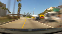 Fast Motion POV Car Entering LAX Airport Past Sign- Los Angeles CA - stock footage