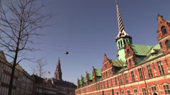 Towers of the Old Stock Exchange and Christiansborg, Copenhagen Stock Footage
