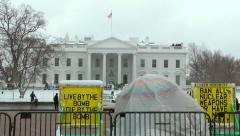 White House permanent protest tent, winter snow Stock Footage