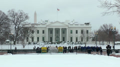 Snowy White House, tourists Stock Footage
