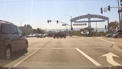 POV Car Approaching Redondo Beach CA King Harbor Stock Footage