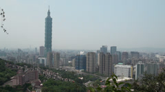 Beautiful view of Taipei city with the famed Taipei 101 skyscraper Stock Footage