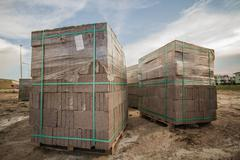 packaged bricks used for infrastructure - stock photo