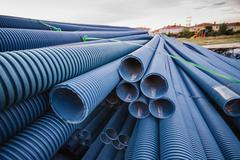 Stack of blue pvc pipes Stock Photos