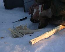 Nenet making a bonfire in the snow Stock Footage