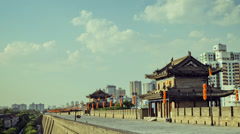 Timelapse of Xi'an city wall, Shaanxi, China Stock Footage