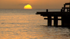 Sunset on Ocean Pier Stock Footage