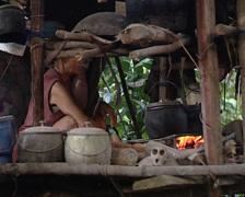 Punan woman cooking in her pile-dwelling Stock Footage