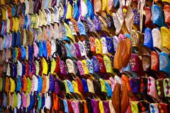 Colorful moroccan handmade leather shoes Stock Photos