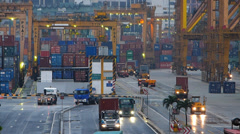 Time Lapse Busy Bustle Port of Singapore Container harbor harbour Cranes Truck Stock Footage