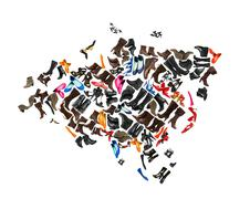 Stock Photo of Eurasia continent made of woman shoes