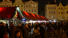 PRAGUE, CZECH REPUBLIC - DECEMBER 2013: Old Town Square - Christmas markets Stock Footage