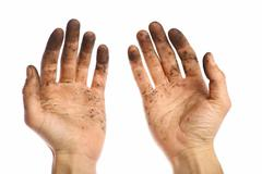 Dirty hands Stock Photos