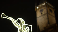 PRAGUE, CZECH REPUBLIC - DECEMBER 2013: Shining Angel (Christmas decorations) Stock Footage