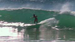Surfing ocean waves Stock Footage