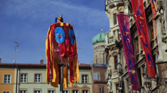 A lantern near the historical town hall on the main square Marienplatz Stock Footage