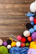 Color woolen clews Stock Photos