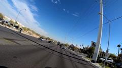 POV driving city suburbs Las Vegas Highway traffic Nevada USA - stock footage