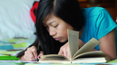 Teen Girl Doing Homework - stock footage