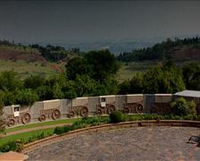 Voortrekker Monument steps and Pretoria landscape Stock Footage