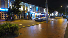 Asia Singapore Red light district Prostitute waiting for customers - stock footage