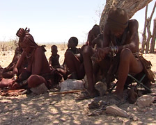 Himba doing fire Stock Footage