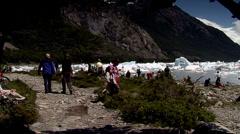 Tourist visiting Calafate lake Stock Footage