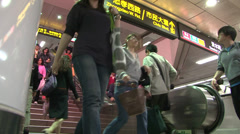 Mechanical stairs in the crowd train station. Stock Footage