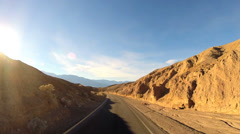 POV Death Valley driving arid desert landscape Wilderness Mojave Desert - stock footage