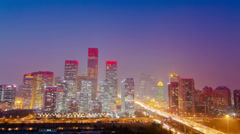 Time lapse of Beijing Central Business District skyline sunset,China - stock footage