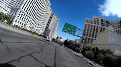 POV vehicle driving city center hotels Highway traffic Las Vegas USA - stock footage