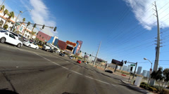 POV driving city suburbs Las Vegas Highway intersection traffic Nevada USA - stock footage