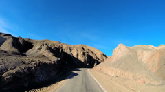 POV road trip Death Valley hot dry landscape vehicle motion California USA - stock footage